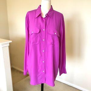 RALPH LAUREN magenta/fuchsia button down blouse